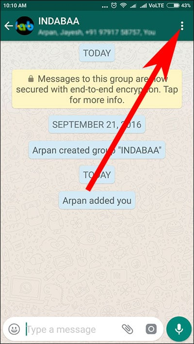 Tap on three horizontal dots in WhatsApp