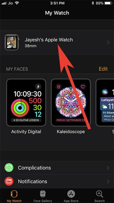 Tap on your Name in Watch App on iPhone