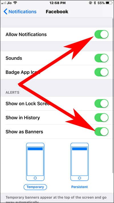 Toggle ON Allow Notifications and Show as Banners on iPhone and iPad