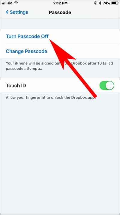 Turn Off Dropbox App Passcode on iPhone and iPad