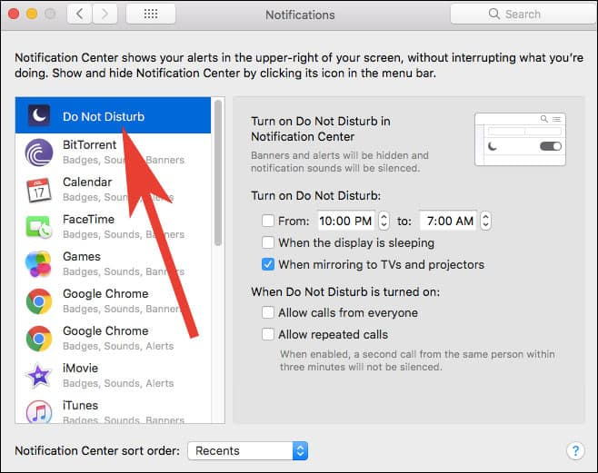 Turn Off Enhanced Notifications from Waking Mac from Sleep