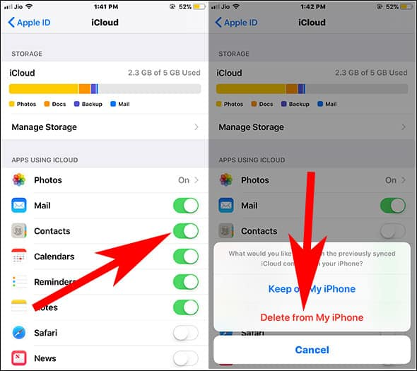 Turn Off contacts for icloud and Tap on Delete Contacts from iPhone