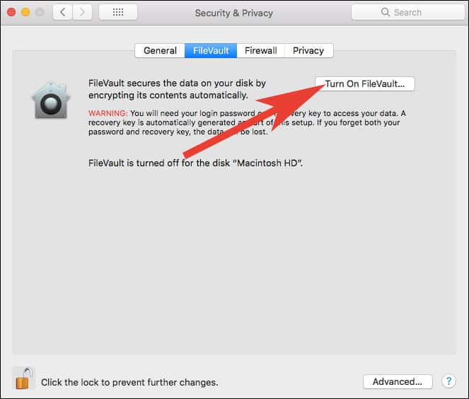 Turn On FileVault DIsk Encryption on Mac
