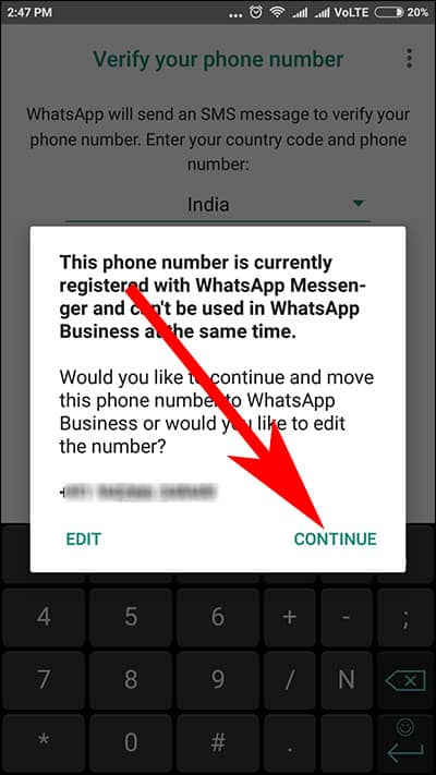 Warning Message if you have used your Current WhatsApp number in WhatsApp for Business App on Android