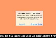 Account Not in this Store Error on iPhone and iPad