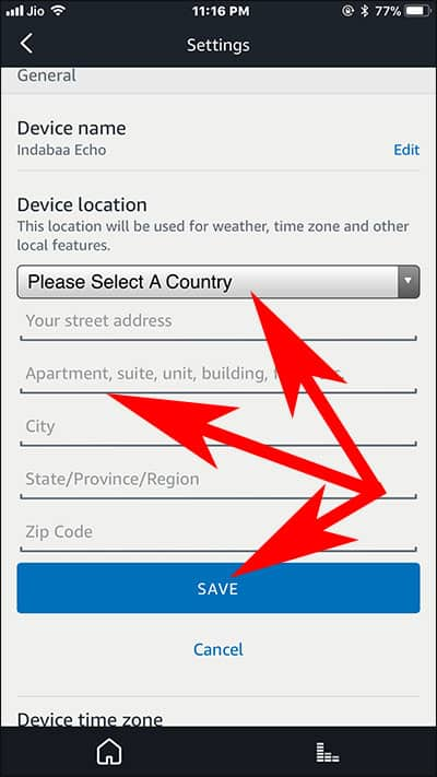 Change Alexa Device Country and Location