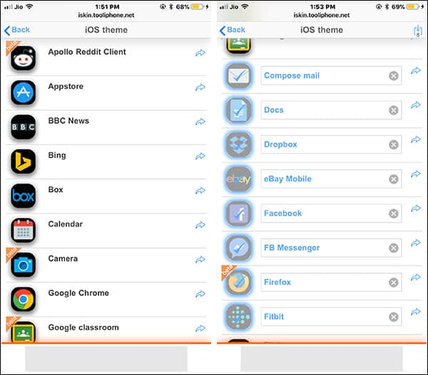 Choose Apps to Customize icons on iPhone and iPad