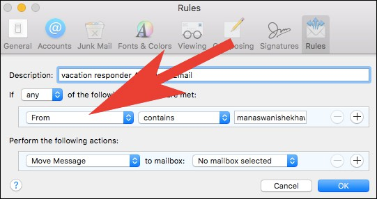Choose Condition When to Send Vacation Responder Email from Mail App on Mac