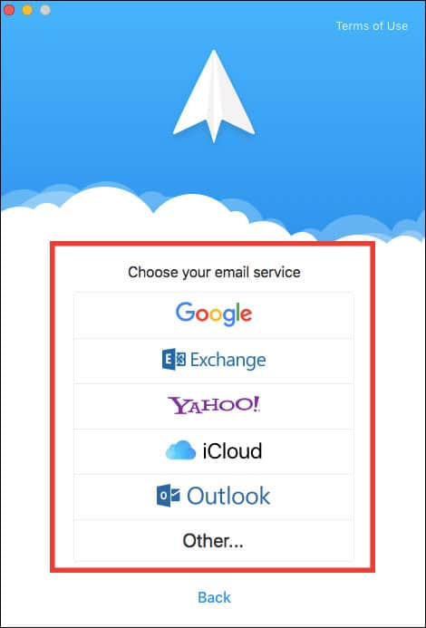 Choose Email Account Service to Schedule an Email from Mac