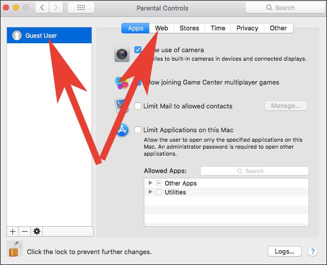 Choose User Account on Click on Web Tab in Mac