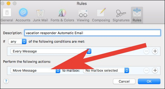 Click on Drop down menu under Perform Actions in Mail App Settings on Mac