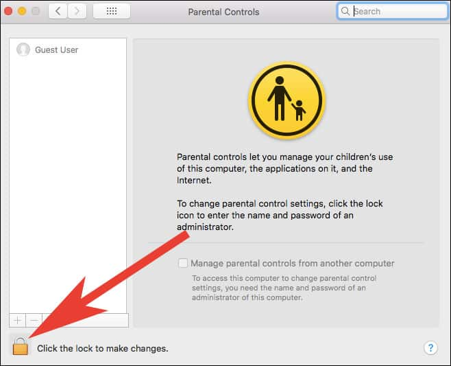 Click on Lock to Access Parental Control on Mac