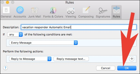 Click on Ok in Mail App Settings on Mac