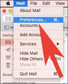 Click on Preferences from Mail Menu in Mac