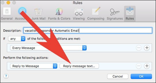 Click on Reply Message Text in Apple Mail App Settings on Mac