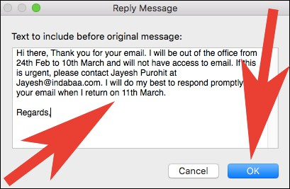 Create Out of Office Email Reply in Mail App on Mac