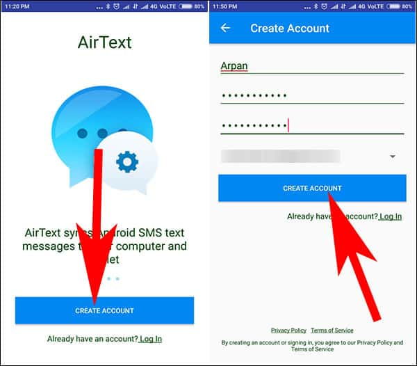 Download AirText App on Android and Create Your Account