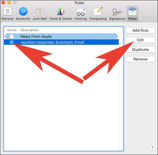 Edit Automatic Email Reply in Mail App on Mac