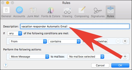 Enter Description in Rules Windows in Mail App on Mac