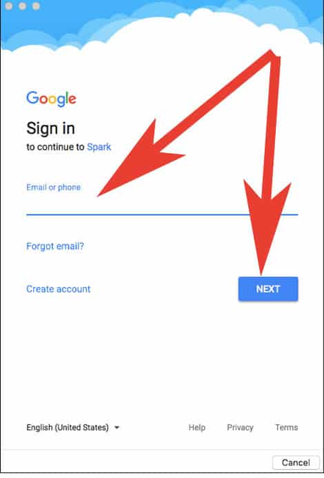 Enter Email ID and Password in Spark App on Mac