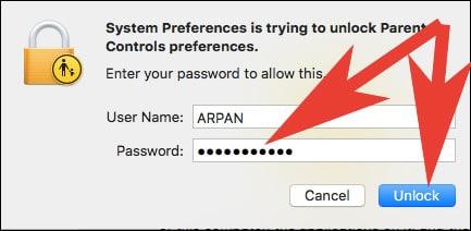 Enter Mac Admin Password to Unlock Parental Control
