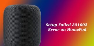 HomePod Setup Failed 301003 Error