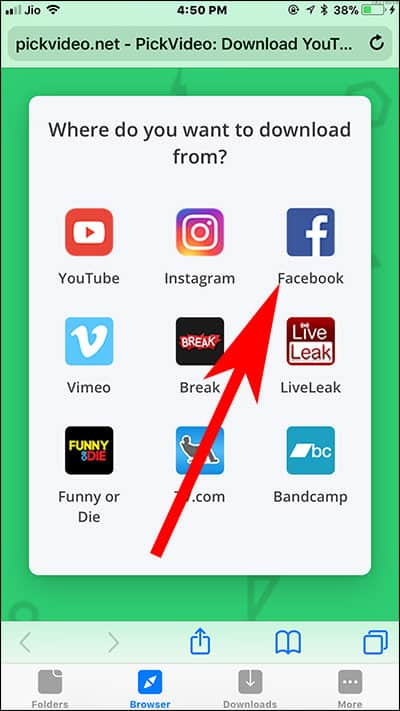 Open pickvideo.net in Browser App on iPhone and Choose Facebook from List