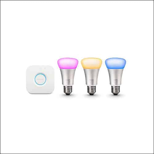 Philips Hue White and Color Ambiance 3rd Generation A19 60W Equivalent Smart Bulb Starter Kit