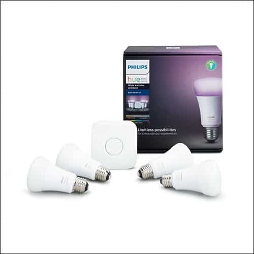 Philips Hue White and Color Ambiance A19 60W Equivalent Smart Bulb Starter Kit