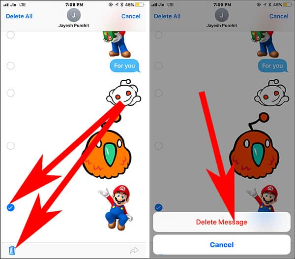 Remove Sticker from iMessage on iPhone and iPad
