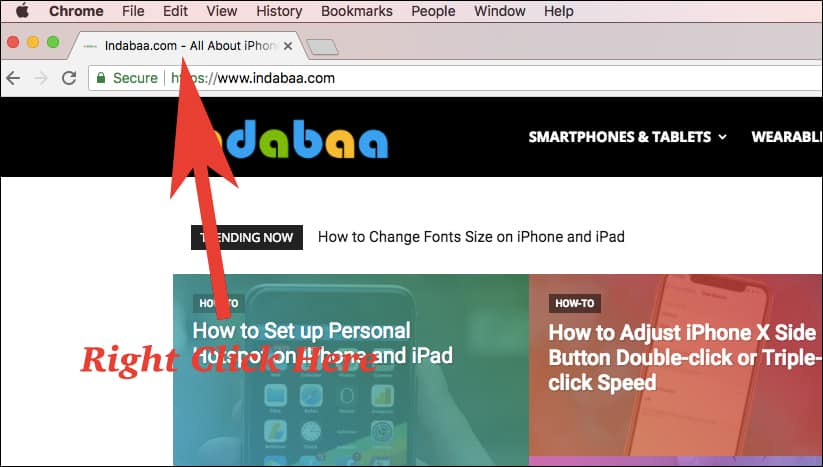 Right click on the tab bar or Window title bar for the Site you want to mute auto playing videos or audios in chrome on Mac and Windows PC