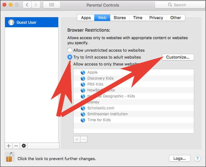 Select Try to limit adult websites automatically in Mac