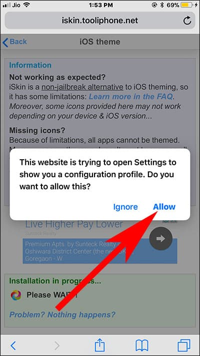 Tap on Allow in Popup to Install Theme on iPhone and iPad
