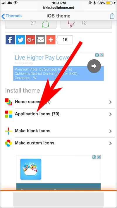 Tap on Application icon in iSkin Website in Safari on iPhone and iPad