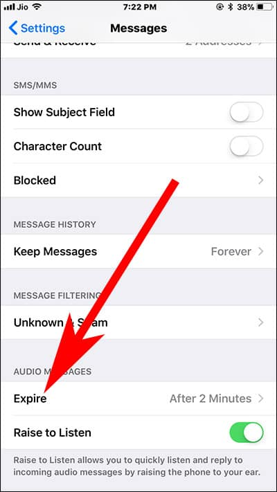 Tap on Expire in Audio Message Settings on iPhone and iPad
