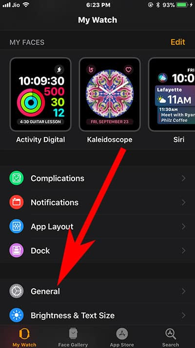 Tap on General on Apple Watch