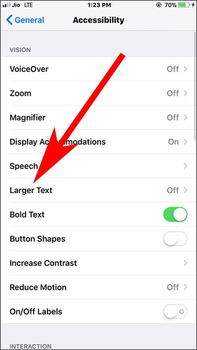 Tap on Larger Text on iPhone