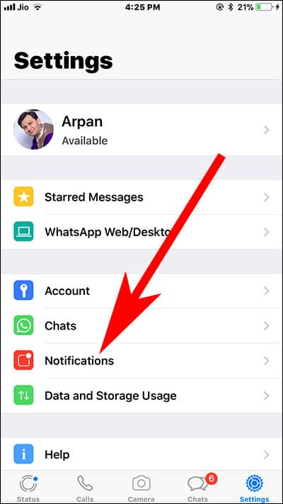 Tap on Notifications in WhatsApp on iPhone