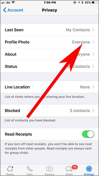 Tap on Profile Picture in WhatsApp on iPhone