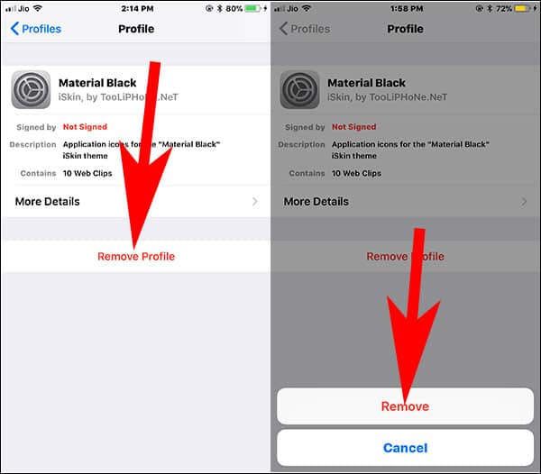 Tap on Remove Profile to Remove Customize Icon Theme on iPhone and iPad