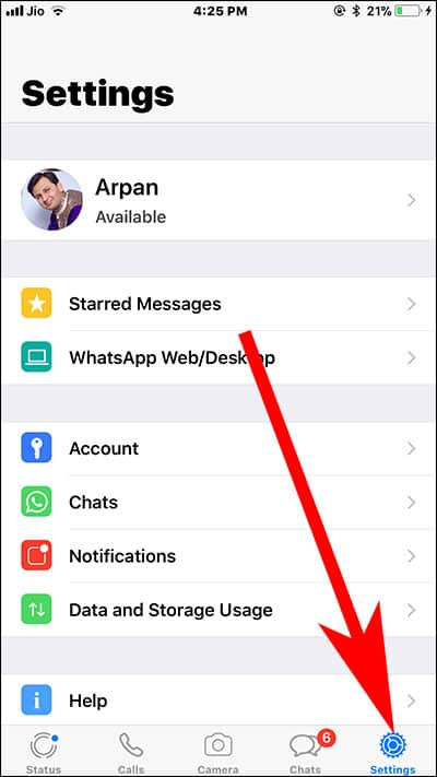Tap on Settings in WhatsApp on iPhone and iPad