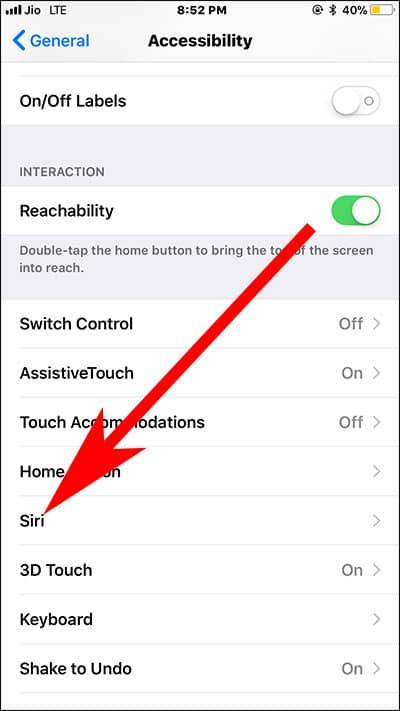 Tap on Siri on iPhone