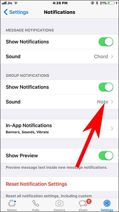 Tap on Sound Under Group Messages in WhatsApp on iPhone and iPad
