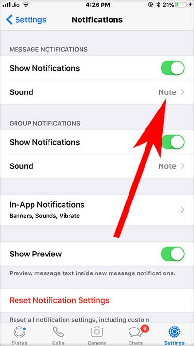Tap on Sound in WhatsApp Settings on iPhone and iPad