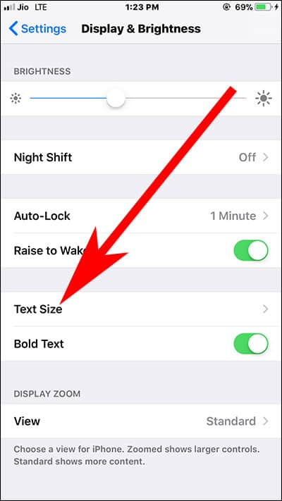 Tap on Text Size in Settings App on iPhone