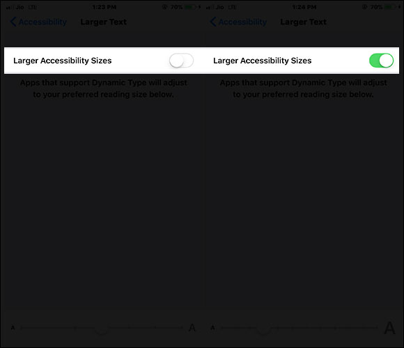 Toggle On Larger Accessibility Size on iPhone and iPad