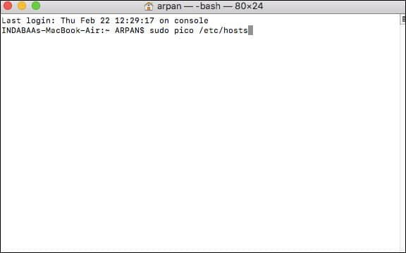 enter sudo pico :etc:hosts intheterminal window on Mac