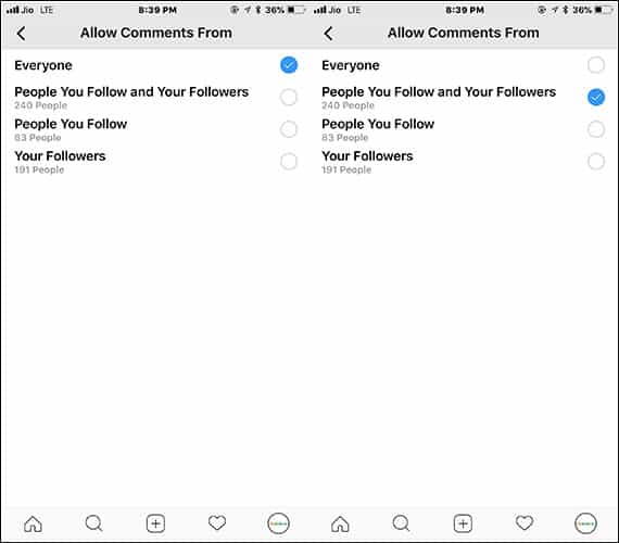 Allow Instagram Comments from People you Follow and Your Followers only