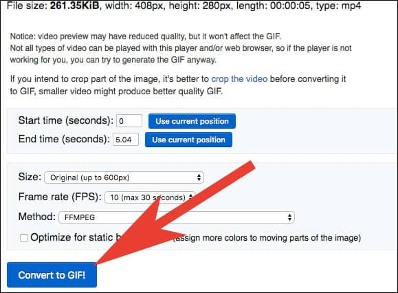 Click on Convert to GIF in ezgif.com on Mac and Windows PC