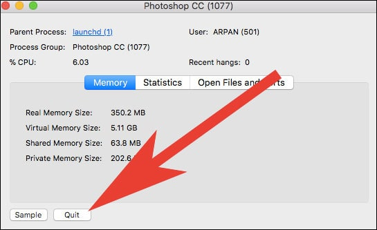 Click on Quit in Activity Monitor on Mac  - Click on Quit in Activity Monitor on Mac - App Got Stuck on Mac? How to Force Quit Apps on Mac